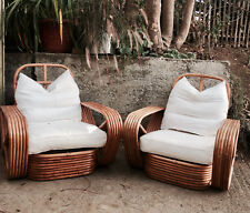 2 Authentic Original 40s Tochiku Japan Amber Rattan Bamboo Lounge Chair Frankl