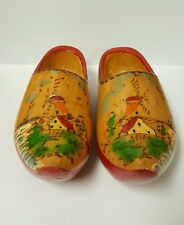 Reduced Vintage Hand Painted Wooden Clogs from Holland, Unique Home Decor