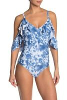 Nicole Miller One-Piece Swimsuit Small Tie Dye Ruffled Cold Shoulder Womens NWT