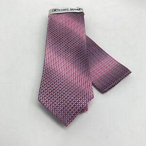Stacy Adams Men's Tie & Hanky Set Pink Fuchsia Charcoal Silver Microfiber