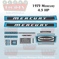 1975 Mercury 4.5 HP Outboard Reproduction 17 Piece Marine Vinyl Decals Four 45