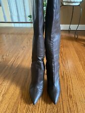 Nine West Brown Leather Boots Pointed Toe High Heels Womens Size 8.5