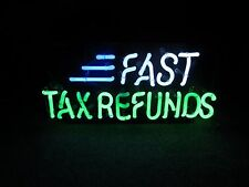 Fast Tax Refund Neon Sign Bright Colors Green Neon Blue Neon Bar Man Cave Light