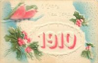 New Year~Large Red Shadow Snowy Number 1910~Green Birds~Blue Sky~Holly~Airbrush
