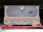 ANTIQUE CARVED AND PAINTED LARGE CHINESE CHEST ON WHEELS 1800s