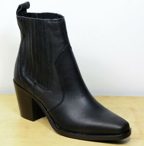 M&S Real LEATHER Western Style ANKLE BOOTS ~ Size 5 ~ BLACK (rrp £69)