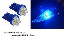 2 ampoule veilleuse LED QUADRI 4x3mm W5W T10 BLEU PEUGEOT 206 CC