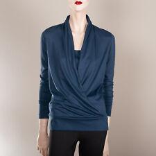 RALPH LAUREN Damen Shirt S 36 Blau Wickeltop Oberteil Designer Bluse Klassiker