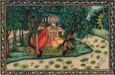 Krishna Radha Kangra Decor Art Handmade Miniature Hindu Deity Drawing Painting