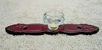 VINTAGE STYLE CAST IRON DOOR PLATE with ACRYLIC/GLASS KNOB, DARK  ANTIQUE RED N