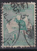 Australia 1913 Kangaroo  1/- Blue Green Sg11a Used Hinged No Gum