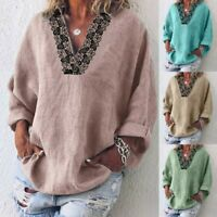 Women's Loose Shirt Long Sleeve Solid Casual Lace V-Neck Blouse Tops Plus Size