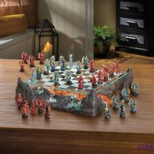Red & Blue Dragon Chess Set Glass Board Sits On Primal River