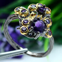 NATURAL 6 - 2 mm. ROUND PURPLE AMETHYST RING 925 STERLING SILVER