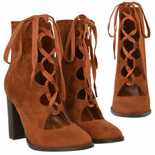 Patternless Lace Up Mid-Calf Boots for Women
