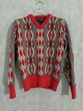Comme Des Garcons SHIRT x Fred Perry Red  Argyle Stretch Wool Sweater S/XS Italy