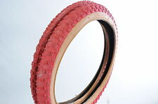 PAIR RALEIGH BURNER/OLD SCHOOL BMX 20 x 2.125 RED AMBER WALL COMP III TYPE TYRES