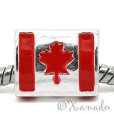 Flag Of Canada European Charm Bead - Handpainted Enamel Canadian Maple Leaf Flag