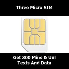 Micro SIM Card For Three Network For iPhone 4 4S - 500 Mins Unl Text & Unl Data