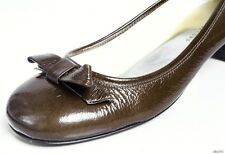 new MARC JACOBS dark olive patent round tow BOW flats shoes 39 9 - SUPER CUTE