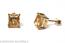 9ct Gold Citrine Studs earrings Gift Boxed Made in UK