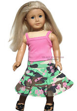 Pink Top + Camo Skirt + Black Shoes made for 18 inch American Girl Doll Clothes