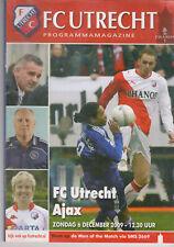 Programme / Programma FC Utrecht v Ajax Amsterdam 06-12-2009