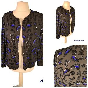 Ladies Black Jacket Size 22 VERY Sequinned Beaded Lined Cruise Party Christmas