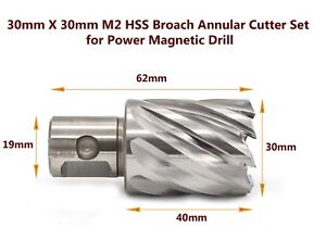 New  30mm X 30mm M2 HSS Broach Annular Cutter Set for Power Magnetic Drill