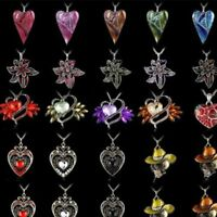 Charm Womens Crystal Enamel Heart Cross Flowers Pendant Necklace Chain Jewellery