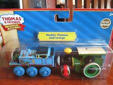 "NEW REAL WOOD Thomas & Friends Train Wooden Railway ""Muddy Thomas and George"""
