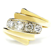 Vintage Old Mine Cut Diamond Ring Two Tone Gold .50ctw