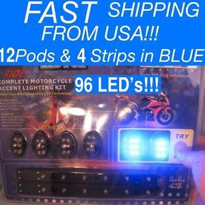 16 Pc Blue 96 LED Lighting POD kit UNDER GLOW Motorcycle Moto 12V NEON Bright!
