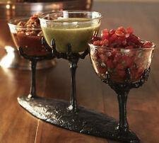 POTTERY BARN SET BLACK SKELETON CONDIMENT Appetizer STAND dip HOLDER 3 bowls