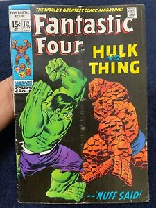 Fantastic Four #112 (July 1971) Key issue Hulk vs Thing Cover Marvel Comic Book