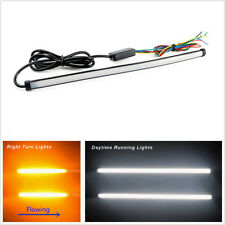 2 Pcs Waterproof Switchback Flowing Car LED DRL Light Strip Tube 30cm Dual Color