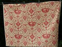 """SANDERSON TOILE FABRIC Cotton Cerise Floral /Chateau Print VINTAGE 1994 55x41.3"""""""