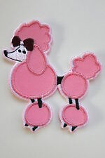 Pink Poodle Iron On Patch 40s 50s Rockabilly PinUp Kitsch Dog French Rock N Roll
