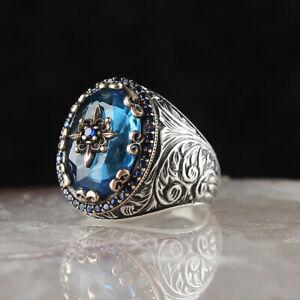 Sapphire Men's Ring Ottoman 925K Sterling Silver Handmade Ring Size 6-10