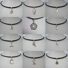 Black Real Leather Cord Choker Tibetan Silver Charm Necklace Pendant Retro Hippy