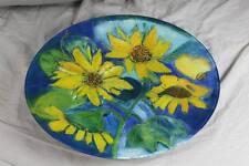 riesige Design Glasschale - handbemalt + signiert - Ø 45,5 cm. - Sonnenblumen /H