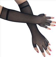 Women Men Sexy Gloves Long Elbow Black Fishnet Fingerless Punk Bride Gloves