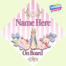 Personalised Peter Rabbit Floral Child/Baby on Board Car Sign New ~ Soft Rose