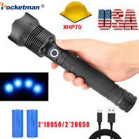 200000LM xhp70 Tactical Led Flashlight Rechargeable Zoomable Torch 18650 26650