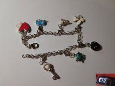 Superbe bracelet à breloques - argent massif emaillé