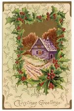 Vintage Christmas Greetings Post Card, A Purple Country Cottage