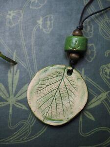 Ceramic Hazel Leaf Pendant On Cord - Wisdom - Ogham   Pagan, Wicca, Witchcraft,