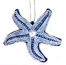 Coastal Blue and White Beaded Starfish 6 Inch Fabric Christmas Holiday Ornament