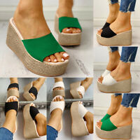 ❤️ Women's Wedge Platform Slippers High Heel Peep Toe Sandals Espadrille Shoes