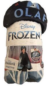 NEW Disney Frozen II Olaf Super Soft and Cozy Kids Snuggle Wrap Hoodie Blanket